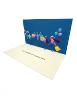 3D Pop-up People Partying with Balloons eCard and electronic greeting card