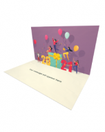 3D Pop-up Happy People Celebrate New Year eCard and electronic greeting card