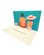 3D Pop-up Man and Woman in Swimming Suits Listening to Music eCard and Electronic Greeting Card