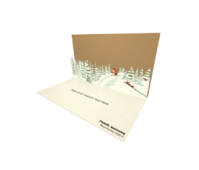 3D Pop-up Forest Skiing eCard and electronic greeting card
