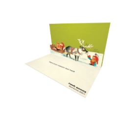 3D Pop-up Boy Feeding Reindeer eCard and electronic card