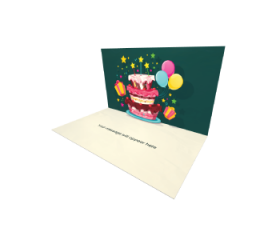 3D Pop-up Birthday Cake with Stars eCard and electronic greeting card