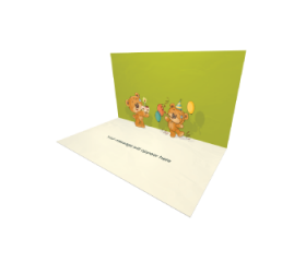 3D Pop-up Teddy Bears Birthday Party eCard and electronic greeting card