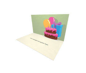 3D Pop-up Birthday Cake and Balloons eCard and electronic greeting card