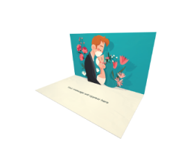 3D Pop-up Couple Kissing Under the Face Masks eCard and Electronic Greeting Card