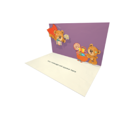 3D Pop-up Teddy Bears in Love eCard and Electronic Greeting Card