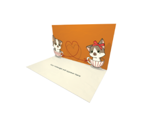 3D Pop-up Two Puppies Love eCard and Electronic Greeting Card