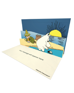 3D Pop-up Moomins on the Beach Official eCard and electronic greeting card