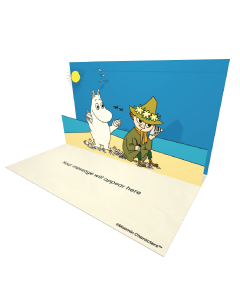 3D Pop-up Moomin and Snufkin on the Beach Official eCard and electronic greeting card