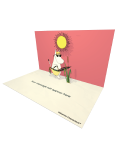 3D Pop-up Moomin Snorkmaiden on the Beach Official eCard and electronic greeting card