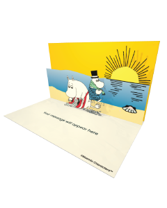 3D Pop-up Moomin Moominmamma and Moominpappa on the Beach Official eCard and electronic greeting card