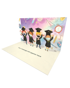 Graduation Child Mask Jumping eCard - Online Greeting Card