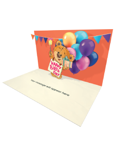 Send Birthday eCard and Online Greeting Card to your Friends and Family. Teddy Bear Holding a Gift Box - Birthday eCard.