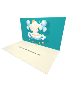 Send Baby Shower eCard and Online Greeting Card to your Friends and Family. Baby Shower - It's a Boy - Clothes Bottle Shoe Hang Decoration eCard.
