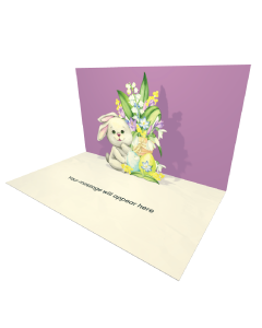 Send Easter eCard and Online Greeting Card to your Friends and Family. A Rabbit Sitting On a Background of Spring Flowers and Easter Egg - Easter eCard.