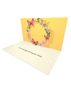 Send Flowers eCard and Online Greeting Card to your Friends and Family. Summer Wreath with Flowers and Butterflies eCard.
