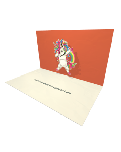 3D Pop-up Unicorn Dab eCard and electronic greeting card