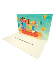 3D Pop-up Party with Pizza eCard and electronic greeting card