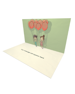 3D Pop-up Boy and Girl Swing Balloons eCard and Electronic Greeting Card