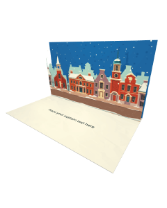 3D Pop-up Winter City Illustration eCard and electronic greeting card