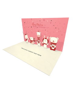 3D Pop-up Cute Animals for Christmas eCard and electronic greeting card