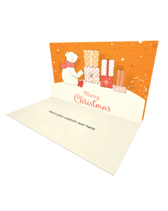 3D Pop-up Bear with Gift Box in Snow eCard and electronic card
