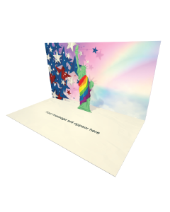 The Statue of Liberty Wears a Rainbow Robe Online Greeting Card